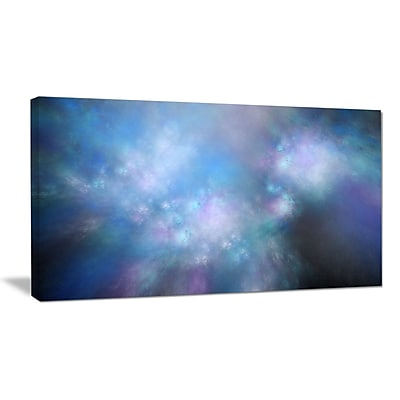 DesignArt 'Perfect Light Blue Starry Sky' Graphic Art on Wrapped Canvas; 12'' H x 20'' W x 1'' D