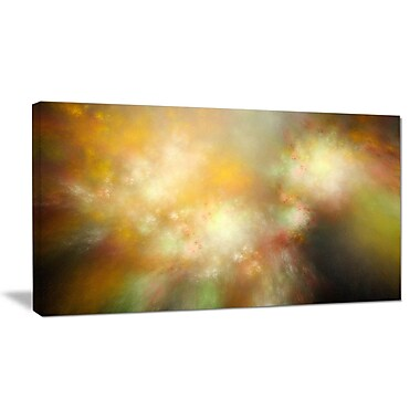 DesignArt 'Perfect Yellow Green Starry Sky' Graphic Art on Wrapped Canvas; 16'' H x 32'' W x 1'' D