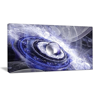 DesignArt 'Beautiful Blue Flying Saucer' Graphic Art on Wrapped Canvas; 12'' H x 20'' W x 1'' D