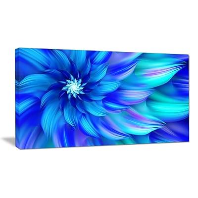 DesignArt 'Massive Blue Fractal Flower' Graphic Art on Wrapped Canvas; 20'' H x 40'' W x 1'' D