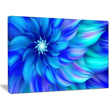 DesignArt 'Massive Blue Fractal Flower' Graphic Art on Wrapped Canvas; 30'' H x 40'' W x 1'' D