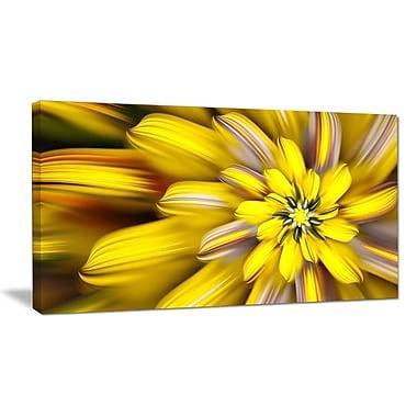 DesignArt 'Massive Yellow Fractal Flower' Graphic Art on Wrapped Canvas; 16'' H x 32'' W x 1'' D