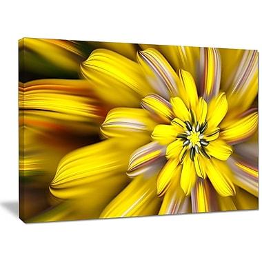 DesignArt 'Massive Yellow Fractal Flower' Graphic Art on Wrapped Canvas; 30'' H x 40'' W x 1'' D