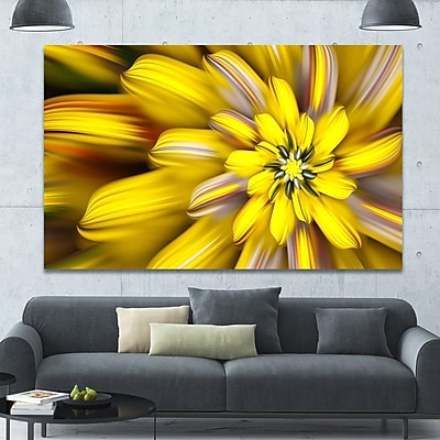 DesignArt 'Massive Yellow Fractal Flower' Graphic Art on Wrapped Canvas; 40'' H x 60'' W x 1.5'' D