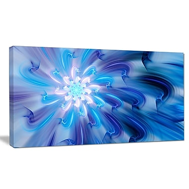 DesignArt 'Mysterious Blue Fractal Texture' Graphic Art on Wrapped Canvas; 20'' H x 40'' W x 1'' D