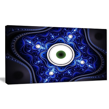 DesignArt 'Exotic Blue Pattern w/ Circles' Graphic Art on Wrapped Canvas; 12'' H x 20'' W x 1'' D