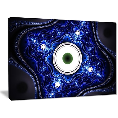 DesignArt 'Exotic Blue Pattern w/ Circles' Graphic Art on Wrapped Canvas; 30'' H x 40'' W x 1'' D