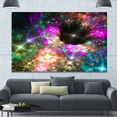 DesignArt 'Pink Cosmic Black Hole' Graphic Art on Wrapped Canvas; 40'' H x 60'' W x 1.5'' D