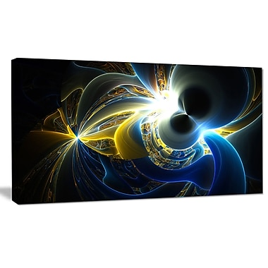 DesignArt 'Glowing Blue Yellow Plasma' Graphic Art on Wrapped Canvas; 20'' H x 40'' W x 1'' D