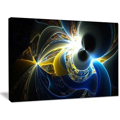 DesignArt 'Glowing Blue Yellow Plasma' Graphic Art on Wrapped Canvas; 30'' H x 40'' W x 1'' D