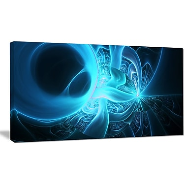 DesignArt 'Shining Bright Blue on Black' Graphic Art on Wrapped Canvas; 16'' H x 32'' W x 1'' D