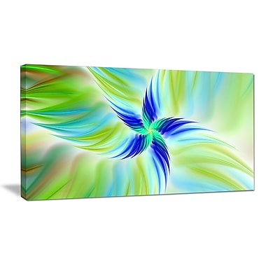 DesignArt 'Huge Rotating Green Flower' Graphic Art on Wrapped Canvas; 20'' H x 40'' W x 1'' D