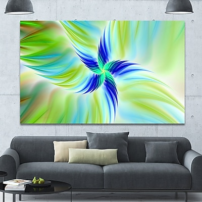 DesignArt 'Huge Rotating Green Flower' Graphic Art on Wrapped Canvas; 40'' H x 60'' W x 1.5'' D