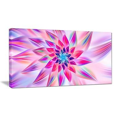 DesignArt 'Huge Pink Blue Fractal Flower' Graphic Art on Wrapped Canvas; 12'' H x 20'' W x 1'' D
