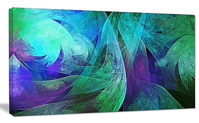 DesignArt 'Green Fractal Abstract Pattern' Graphic Art on Wrapped Canvas; 20'' H x 40'' W x 1'' D