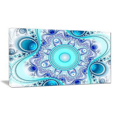 DesignArt 'Turquoise Wavy Curves and Circles' Graphic Art on Wrapped Canvas; 16'' H x 32'' W x 1'' D