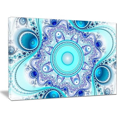 DesignArt 'Turquoise Wavy Curves and Circles' Graphic Art on Wrapped Canvas; 30'' H x 40'' W x 1'' D