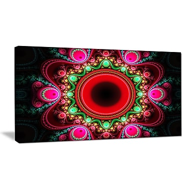 DesignArt 'Pink Wavy Curves and Circles' Graphic Art on Wrapped Canvas; 16'' H x 32'' W x 1'' D