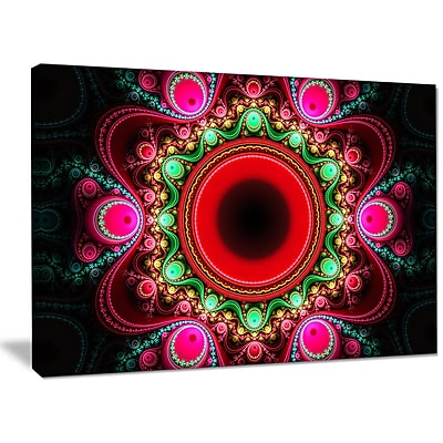 DesignArt 'Pink Wavy Curves and Circles' Graphic Art on Wrapped Canvas; 30'' H x 40'' W x 1'' D