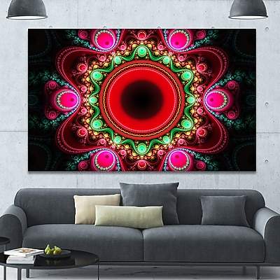 DesignArt 'Pink Wavy Curves and Circles' Graphic Art on Wrapped Canvas; 40'' H x 60'' W x 1.5'' D