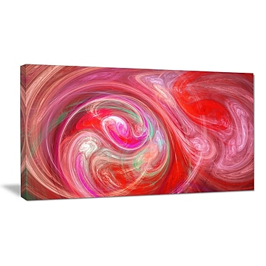 DesignArt 'Red Fractal Pattern w/ Circles' Graphic Art on Wrapped Canvas; 12'' H x 20'' W x 1'' D
