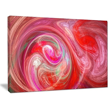 DesignArt 'Red Fractal Pattern w/ Circles' Graphic Art on Wrapped Canvas; 30'' H x 40'' W x 1'' D