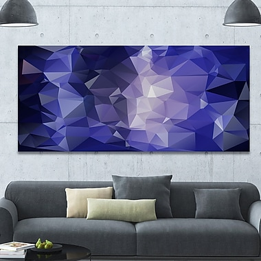 DesignArt 'Blue Polygonal Mosaic Pattern' Graphic Art on Wrapped Canvas; 28'' H x 60'' W x 1.5'' D