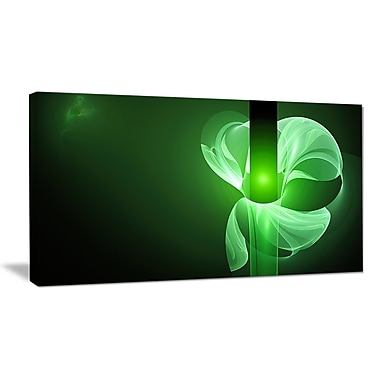 DesignArt 'Green Flower Fractal Illustration' Graphic Art on Wrapped Canvas; 12'' H x 20'' W x 1'' D