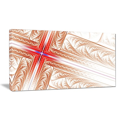 DesignArt 'Red Fractal Cross Design' Graphic Art on Wrapped Canvas; 16'' H x 32'' W x 1'' D