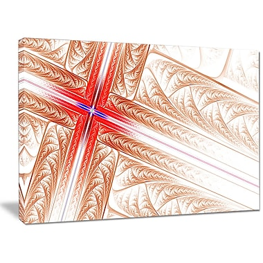 DesignArt 'Red Fractal Cross Design' Graphic Art on Wrapped Canvas; 30'' H x 40'' W x 1'' D