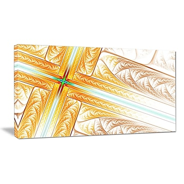 DesignArt 'Brown Fractal Cross Design' Graphic Art on Wrapped Canvas; 20'' H x 40'' W x 1'' D