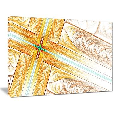DesignArt 'Brown Fractal Cross Design' Graphic Art on Wrapped Canvas; 30'' H x 40'' W x 1'' D