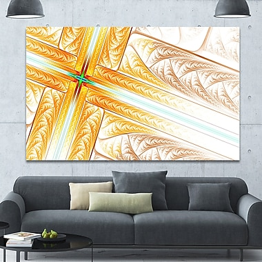 DesignArt 'Brown Fractal Cross Design' Graphic Art on Wrapped Canvas; 40'' H x 60'' W x 1.5'' D