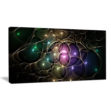 DesignArt 'Myriad of Colored Space Circles' Graphic Art on Wrapped Canvas; 16'' H x 32'' W x 1'' D