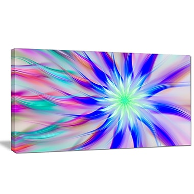 DesignArt 'Exotic Blue Fractal Spiral Flower' Graphic Art on Wrapped Canvas; 16'' H x 32'' W x 1'' D