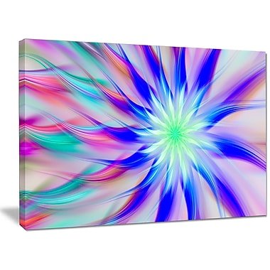 DesignArt 'Exotic Blue Fractal Spiral Flower' Graphic Art on Wrapped Canvas; 30'' H x 40'' W x 1'' D
