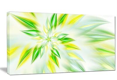 DesignArt 'Light Green Fractal Spiral Flower' Graphic Art on Wrapped Canvas; 20'' H x 40'' W x 1'' D