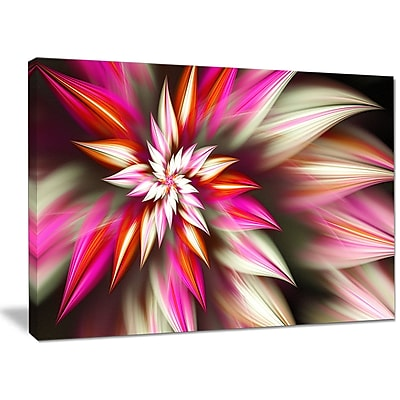 DesignArt 'Exotic Red Fractal Spiral Flower' Graphic Art on Wrapped Canvas; 30'' H x 40'' W x 1'' D