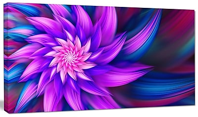 DesignArt 'Huge Purple Fractal Flower' Graphic Art on Canvas; 16'' H x 32'' W x 1'' D