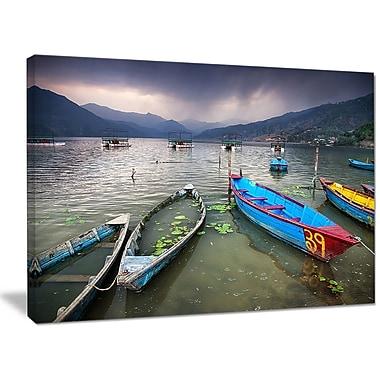 DesignArt 'Boats near Pokhara Lake' Photographic Print on Canvas; 30'' H x 40'' W x 1'' D