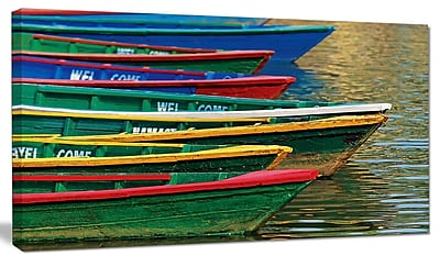 DesignArt 'Color Boats on Phewa Lake Nepal' Photographic Print on Canvas; 12'' H x 20'' W x 1'' D