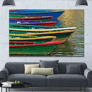 DesignArt 'Color Boats on Phewa Lake Nepal' Photographic Print on Canvas; 40'' H x 60'' W x 1.5'' D