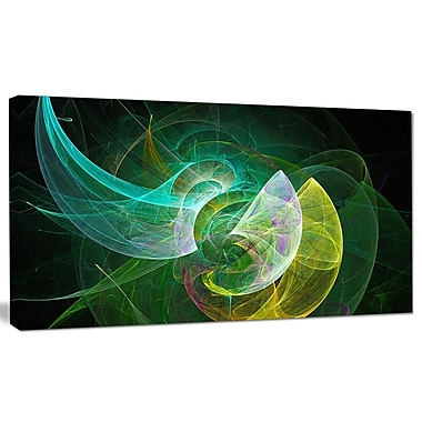 DesignArt 'Green Mystic Psychedelic Texture' Graphic Art on Canvas; 20'' H x 40'' W x 1'' D
