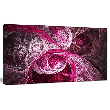 DesignArt 'Mystic Pink Fractal Wallpaper' Graphic Art on Canvas; 16'' H x 32'' W x 1'' D