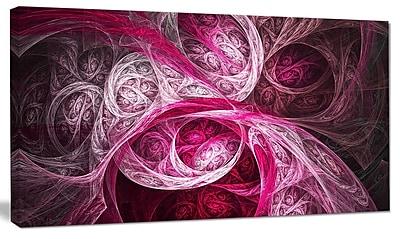 DesignArt 'Mystic Pink Fractal Wallpaper' Graphic Art on Canvas; 12'' H x 20'' W x 1'' D