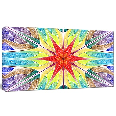 DesignArt 'Beautiful Colorful Stained Glass' Graphic Art on Canvas; 28'' H x 60'' W x 1.5'' D