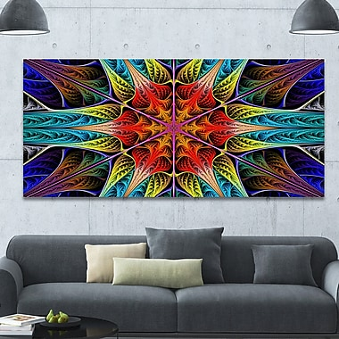 DesignArt 'Colorful Fractal Stained Glass' Graphic Art on Canvas; 28'' H x 60'' W x 1.5'' D