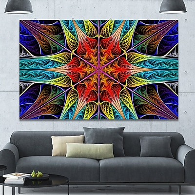 DesignArt 'Colorful Fractal Stained Glass' Graphic Art on Canvas; 40'' H x 60'' W x 1.5'' D