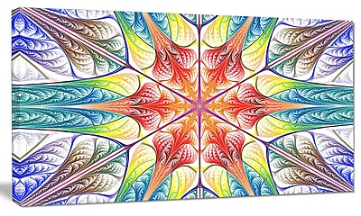 DesignArt 'Multi-Color Fractal Circles and Waves' Graphic Art on Canvas; 16'' H x 32'' W x 1'' D