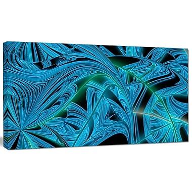 DesignArt 'Blue Winter Fractal Pattern' Graphic Art on Canvas; 16'' H x 32'' W x 1'' D